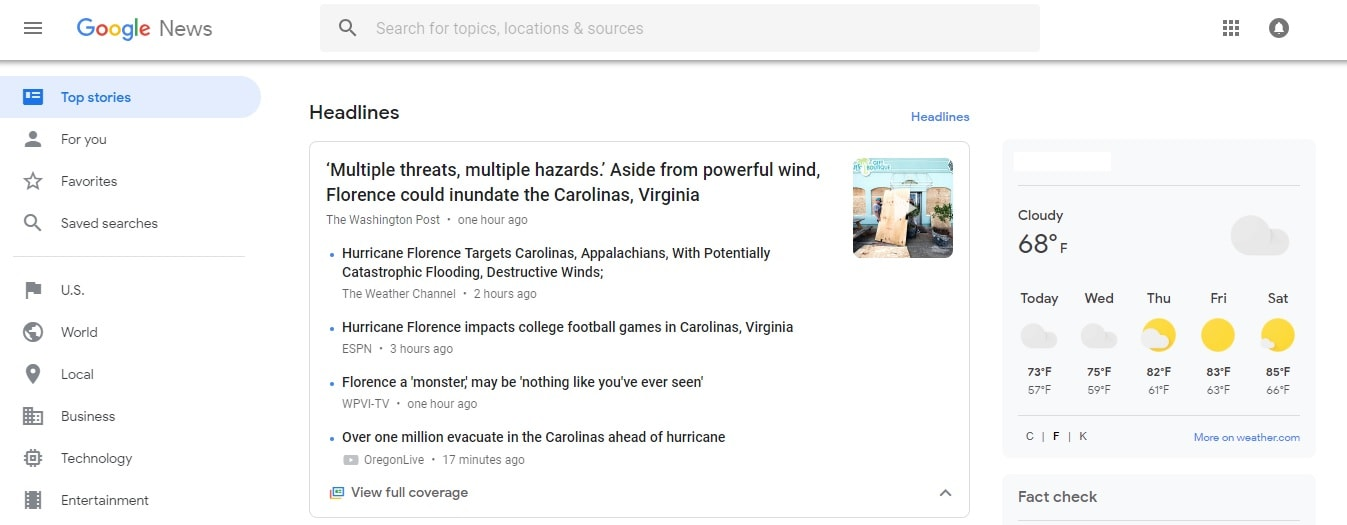 Google News pulls major news stories from around the internet in one place.