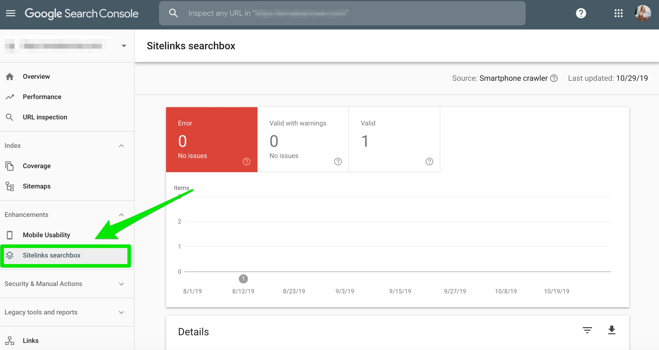 sitelinks searchbox google search console