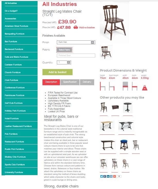 Trent Furniture - e commerce store example