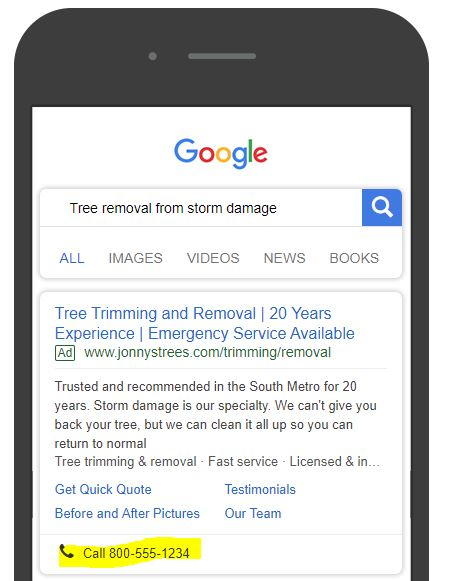Mobile ad example for a tree removal service.