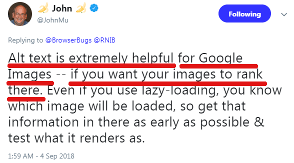 Screenshot of a Google's John Mueller's tweet recommending the use of alt attribute to help an image rank in Google Images
