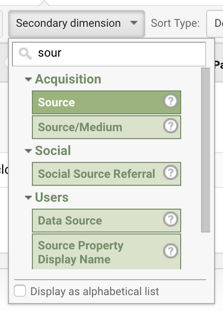 Google Analytics – Secondary Dimension - Source