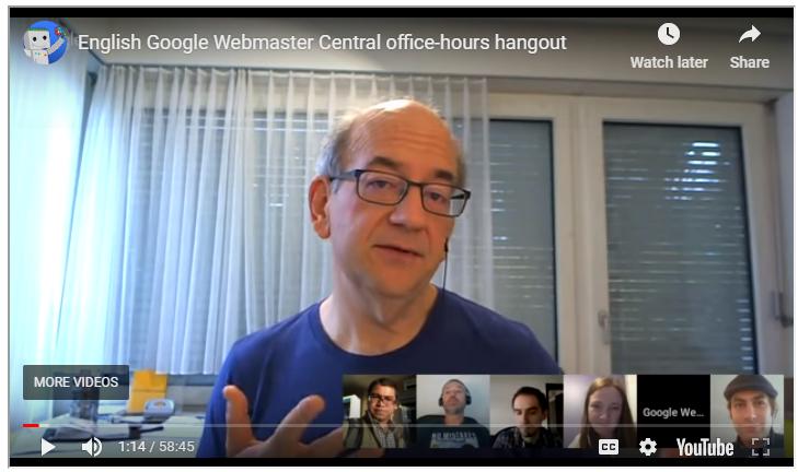 Webmaster Hangouts John Mueller