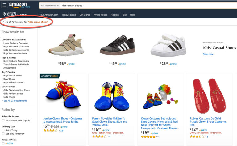"Screenshot of results from an inquiry of ""kids clown shoes"" on Amazon."