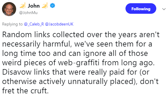Screenshot of a tweet by Google's John Mueller recommending the use of disavow tool only on unnatural links you know about
