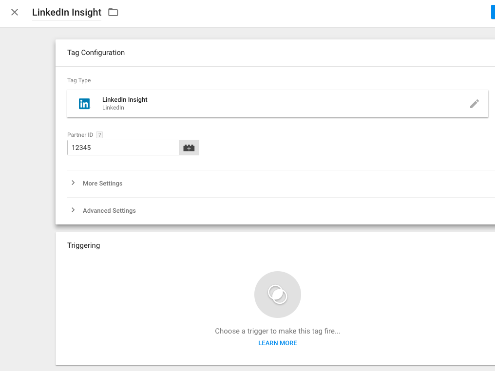 LinkedIn Insight Tag in Google Tag Manager