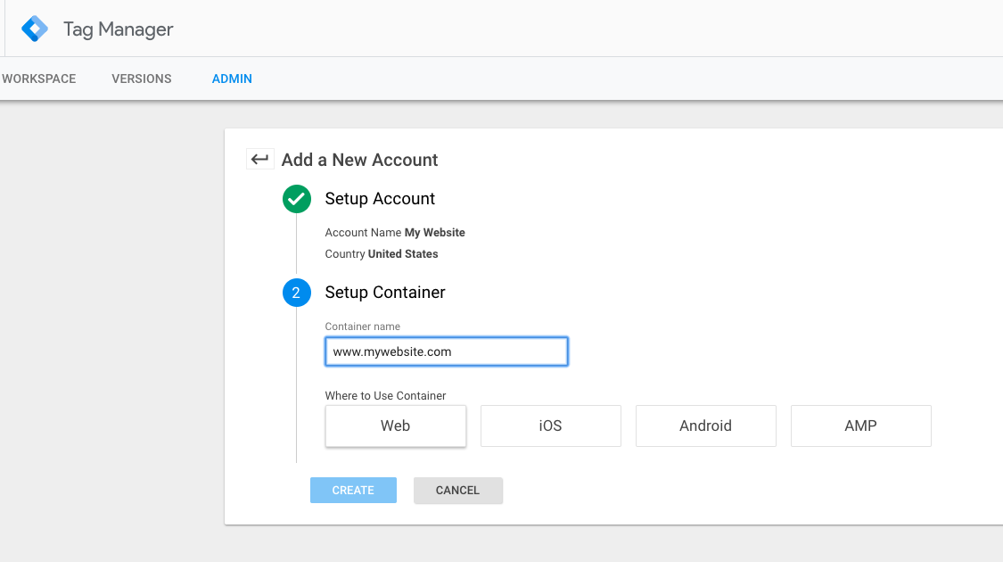 Set up Google Tag Manager container
