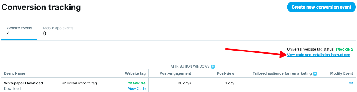 View Twitter Ads Universal Website Tag