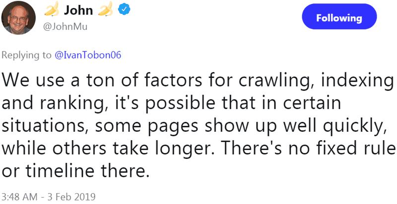 Screenshot of a tweet by Google's John Mueller