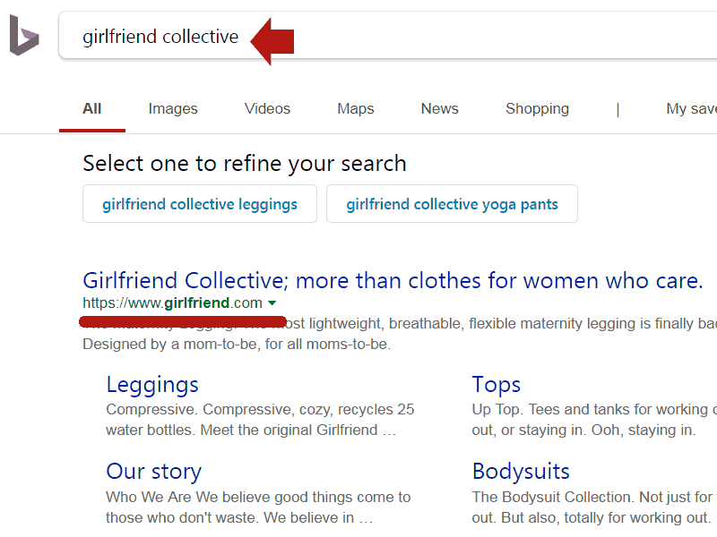 Screenshot of Bing search results showing that it ranks Girlfriend.com in a normal manner
