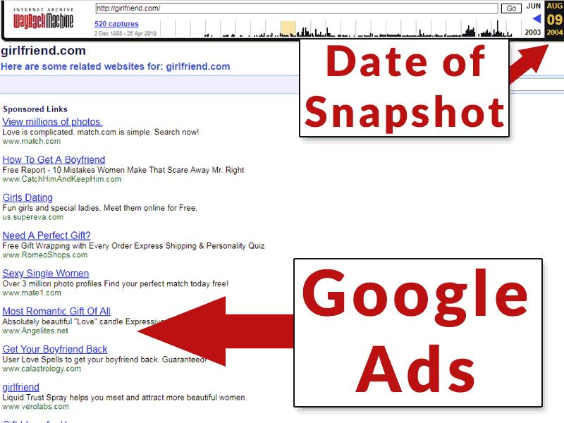Screenshot of Girlfriend.com from 2004