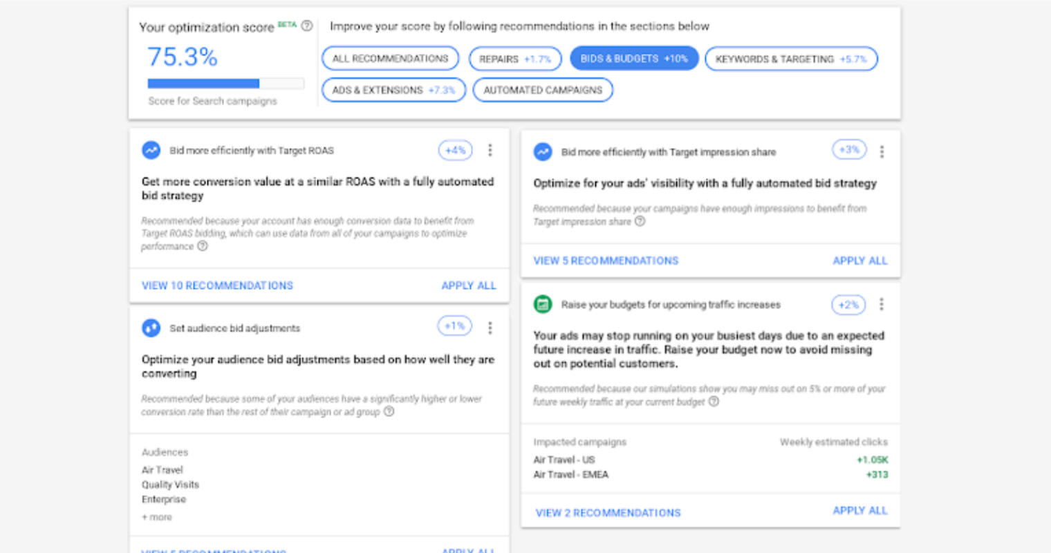Google Ads Offers New Recommendations to Improve Optimization Score