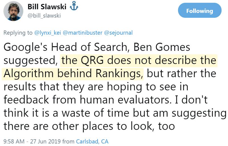 Screenshot of a tweet by Bill Slawski