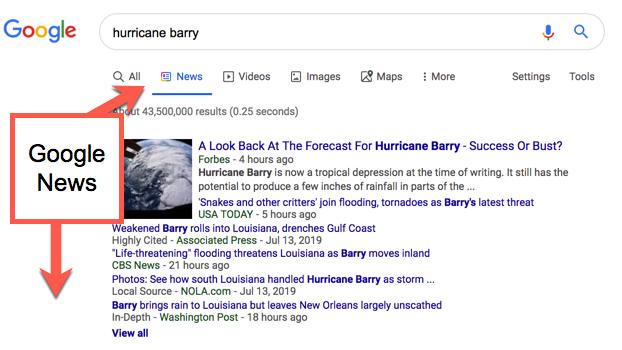 Google News vs. Google Search