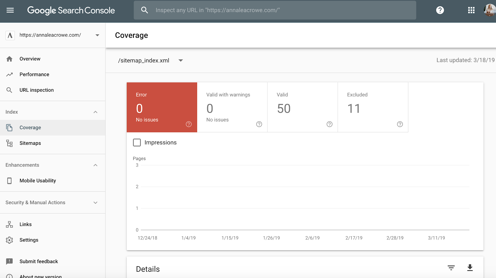 Google Search Console - Index - Sitemaps