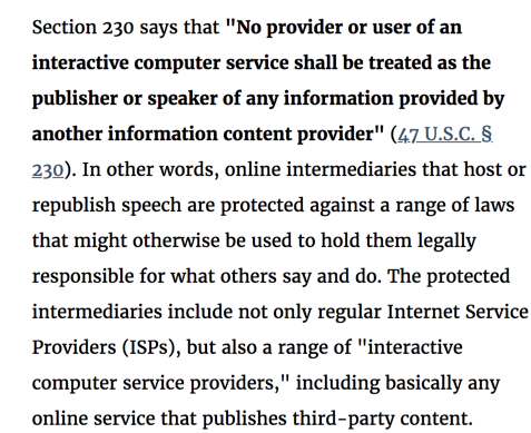 Section 230 of the Communications Decency Act 47