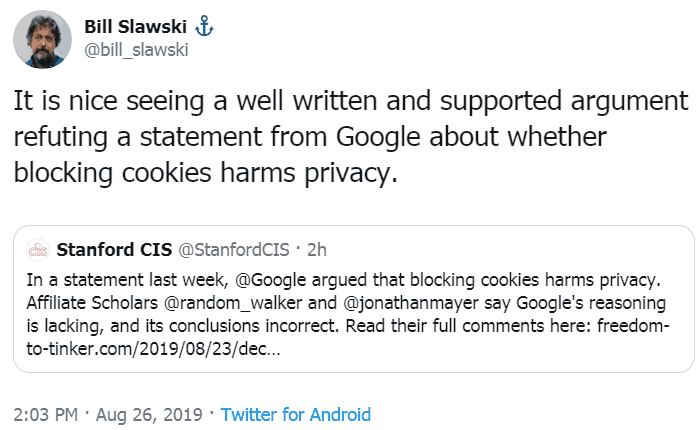 Screenshot of a tweet by Bill Slawski on the issue of Google and Privacy