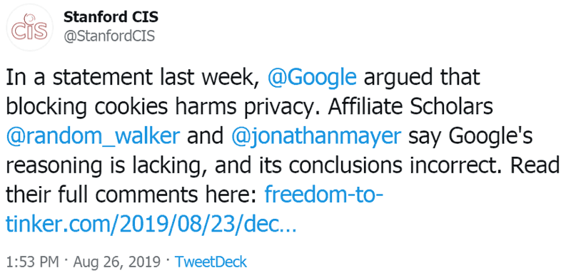 Screenshot of a tweet by Stanford Center for Internet & Society