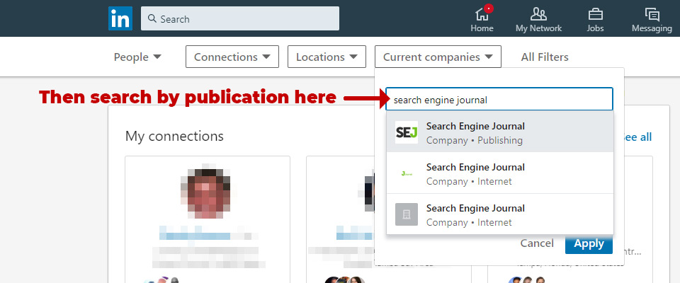 LinkedIn search by publication - Step 2