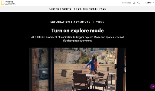 National Geographic's Partner Content for the North Face