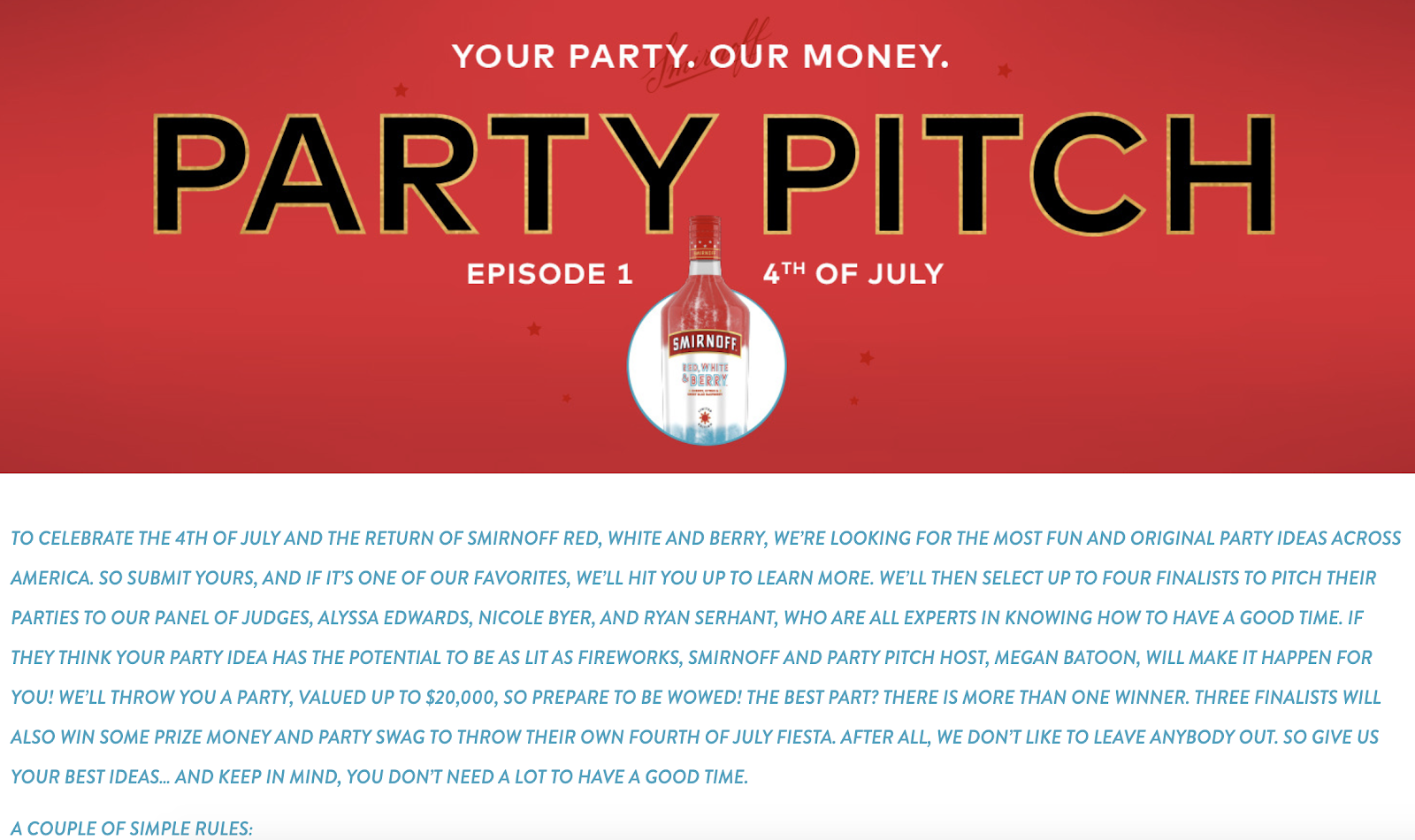 Smirnoff: 4th of July Party Pitch