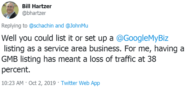 Screenshot of a tweet by Bill Hartzer, explaining why making a national site appear local is not a good idea.