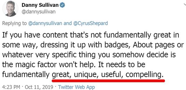 Screenshot of a tweet by Google's Danny Sullivan