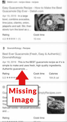 a screenshot of a Google rich snippets bug