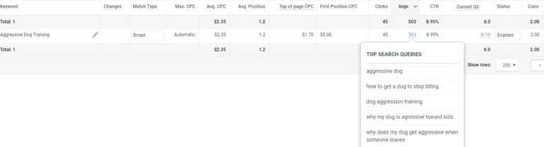 Broad match keyword leading to useful queries