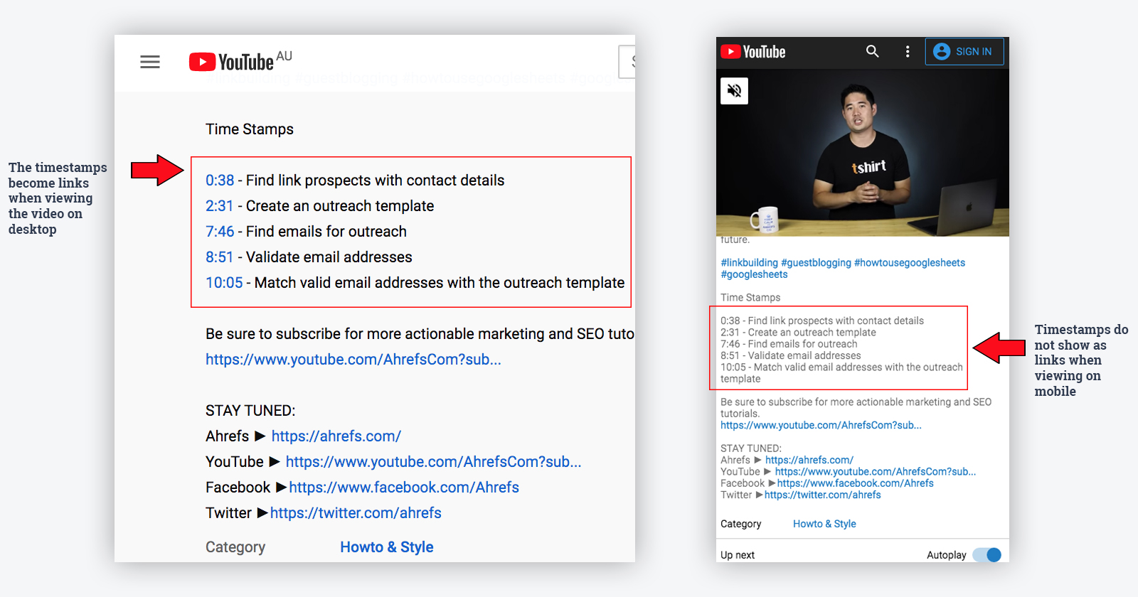 timestamps example for key moments video