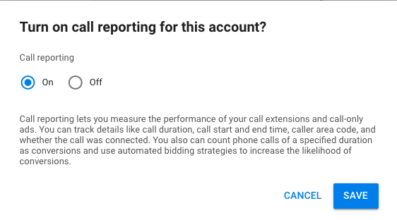 Turn On Call Reporting