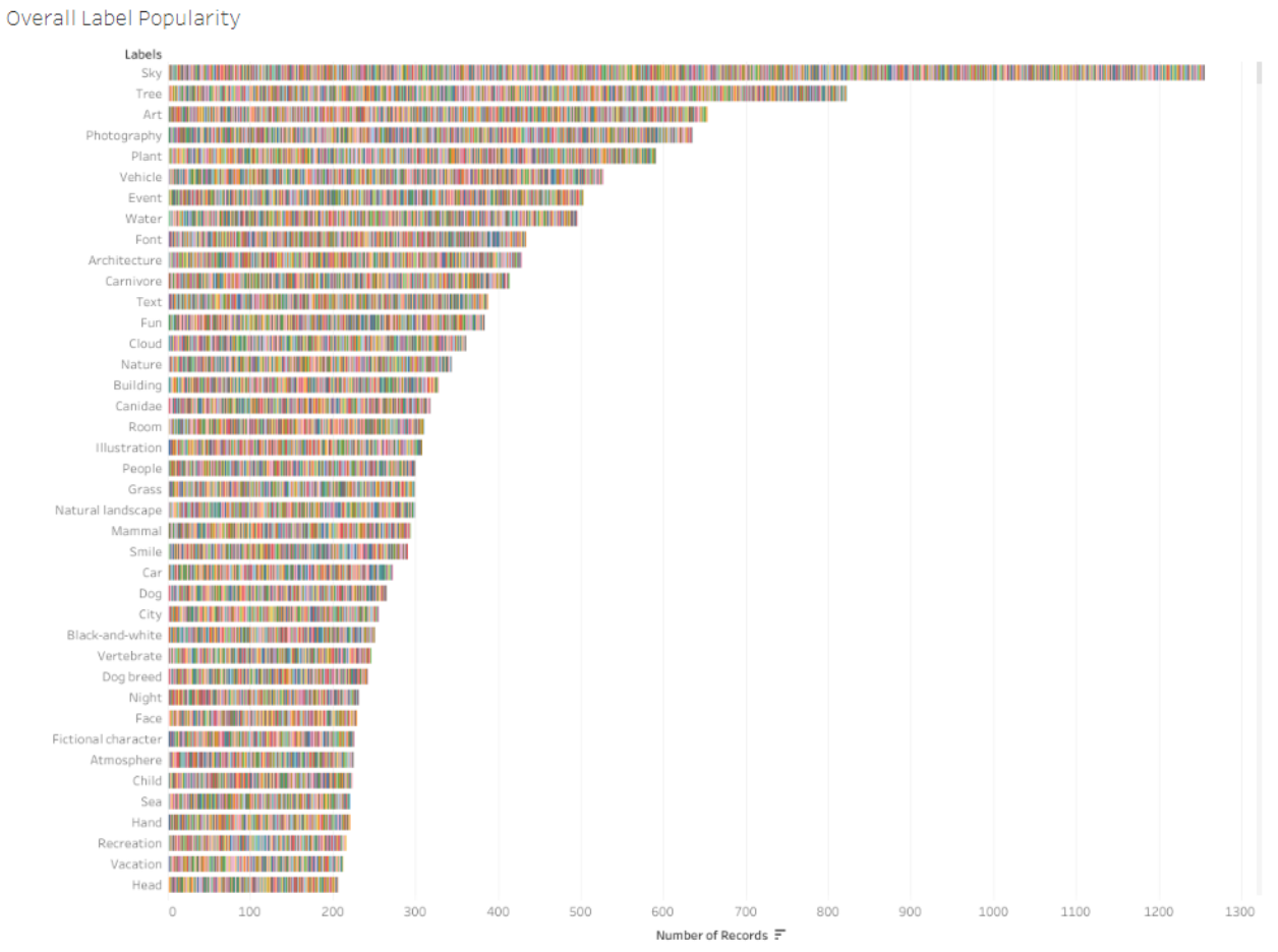 This stacked bar chart shows the overall frequency of detected labels