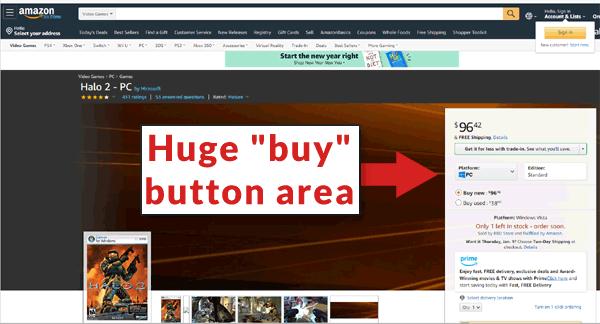 zrzut ekranu ogromnego przycisku kup na amazon.com