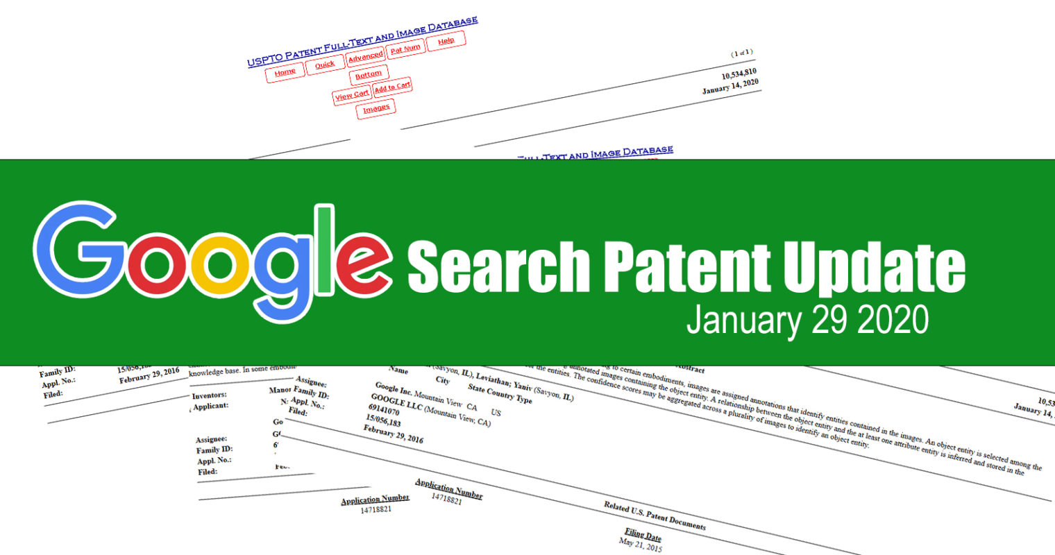 Google Search Patent Update – January 29, 2020