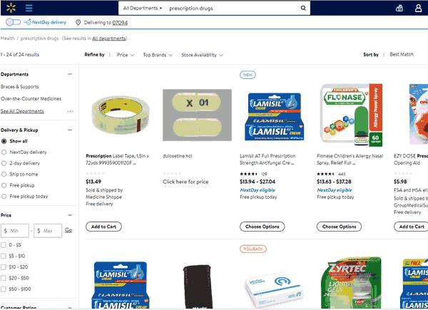 Zrzut ekranu z prostą stroną Walmart
