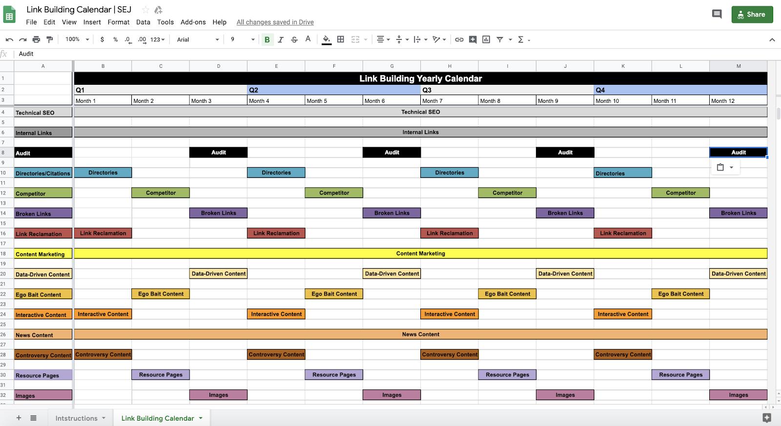 Link Building Calendar