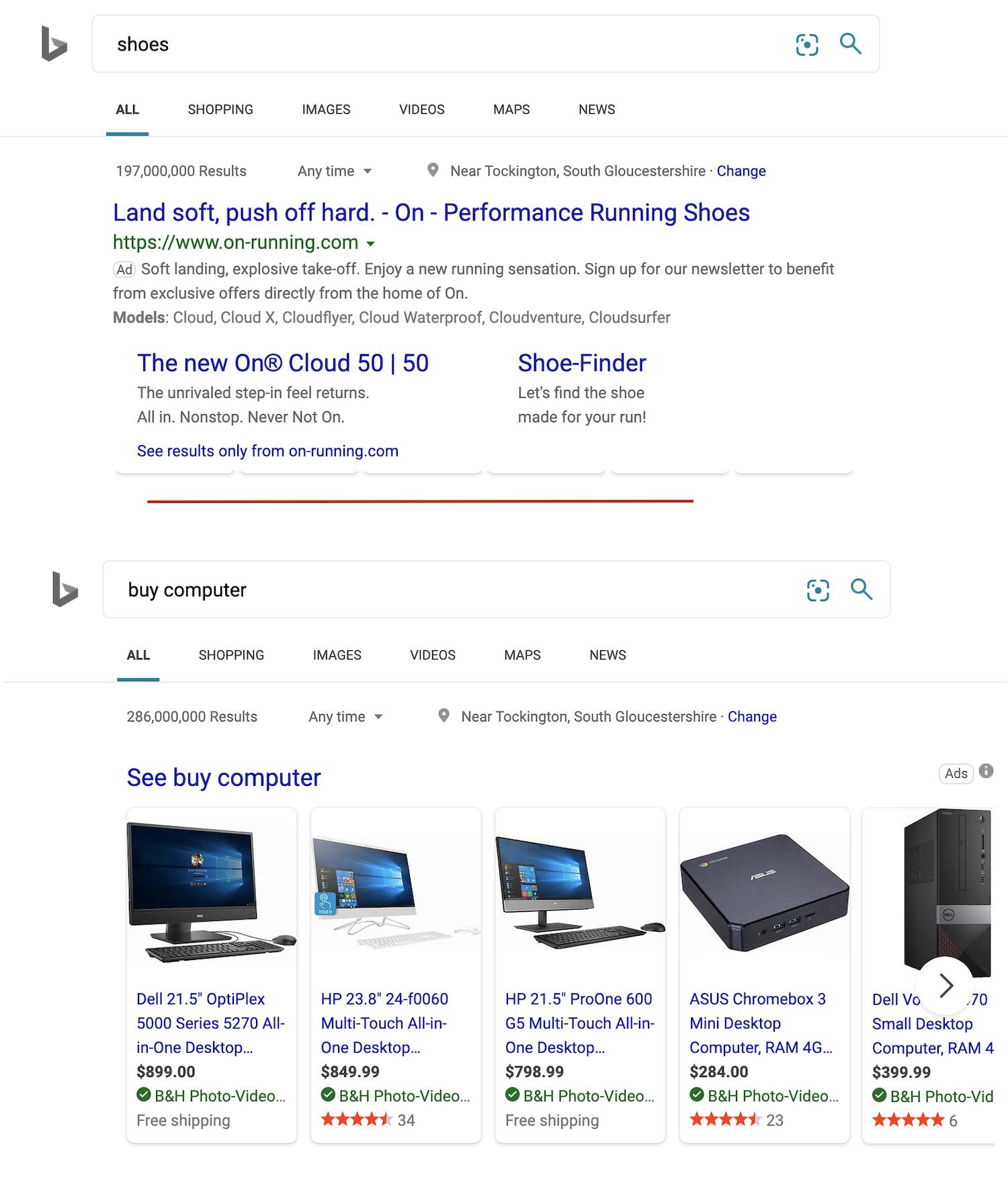 Ads on Bing SERP
