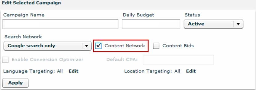 Google targeting settings of Search and Content