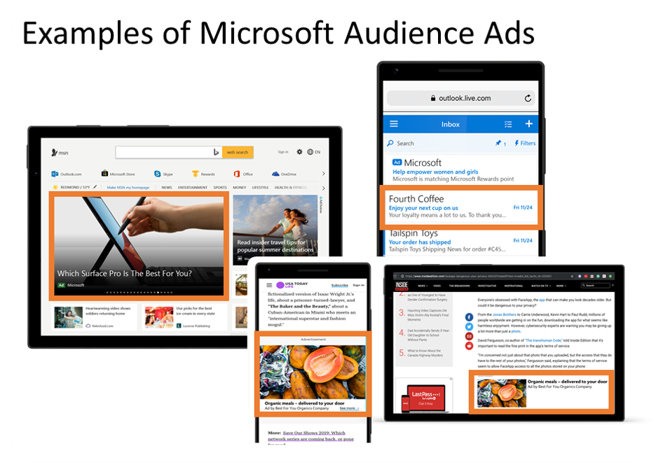 Visual examples of Microsoft Audience network placements for image ads, text ads, and product ads across the audience network.
