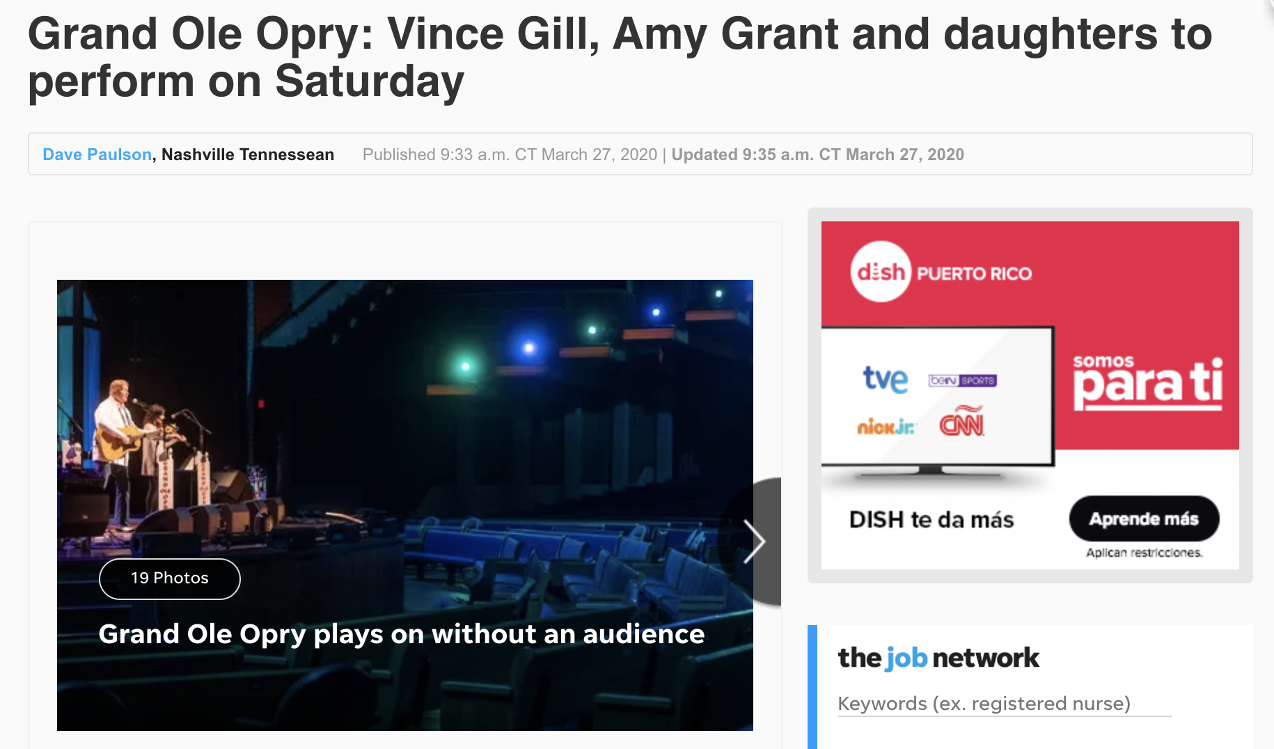 Grand Ole Opry Live Stream During Social Distancing