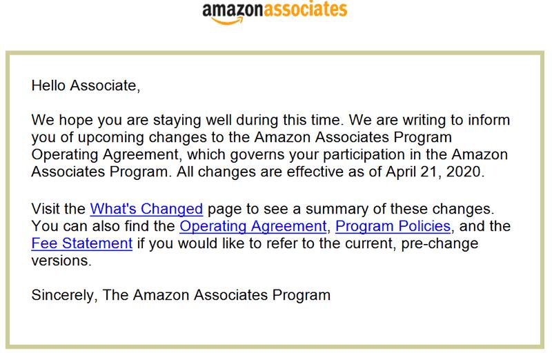 Screenshot of Amazon Associates Email