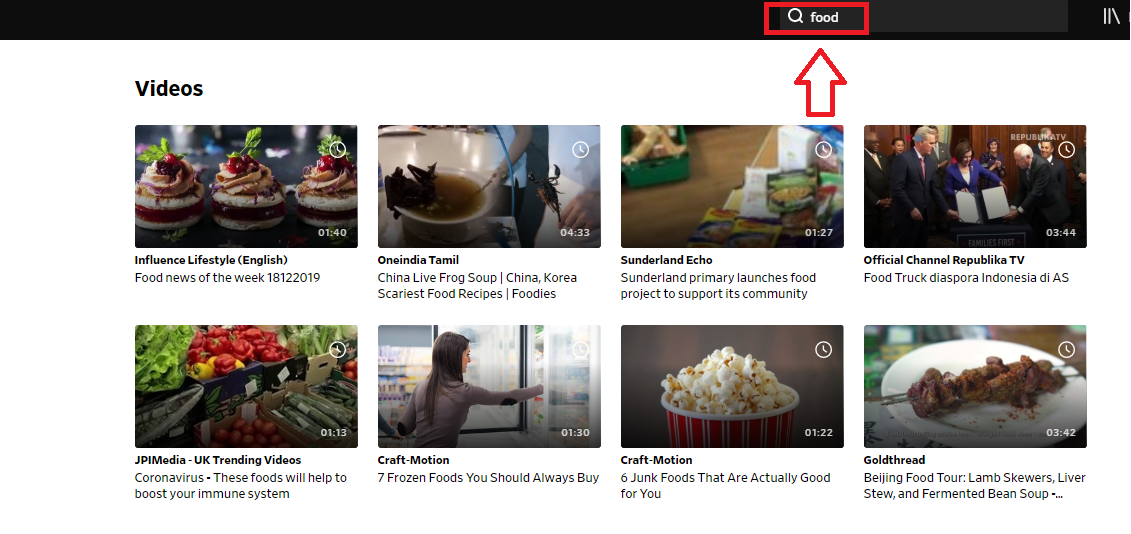 video search on Dailymotion