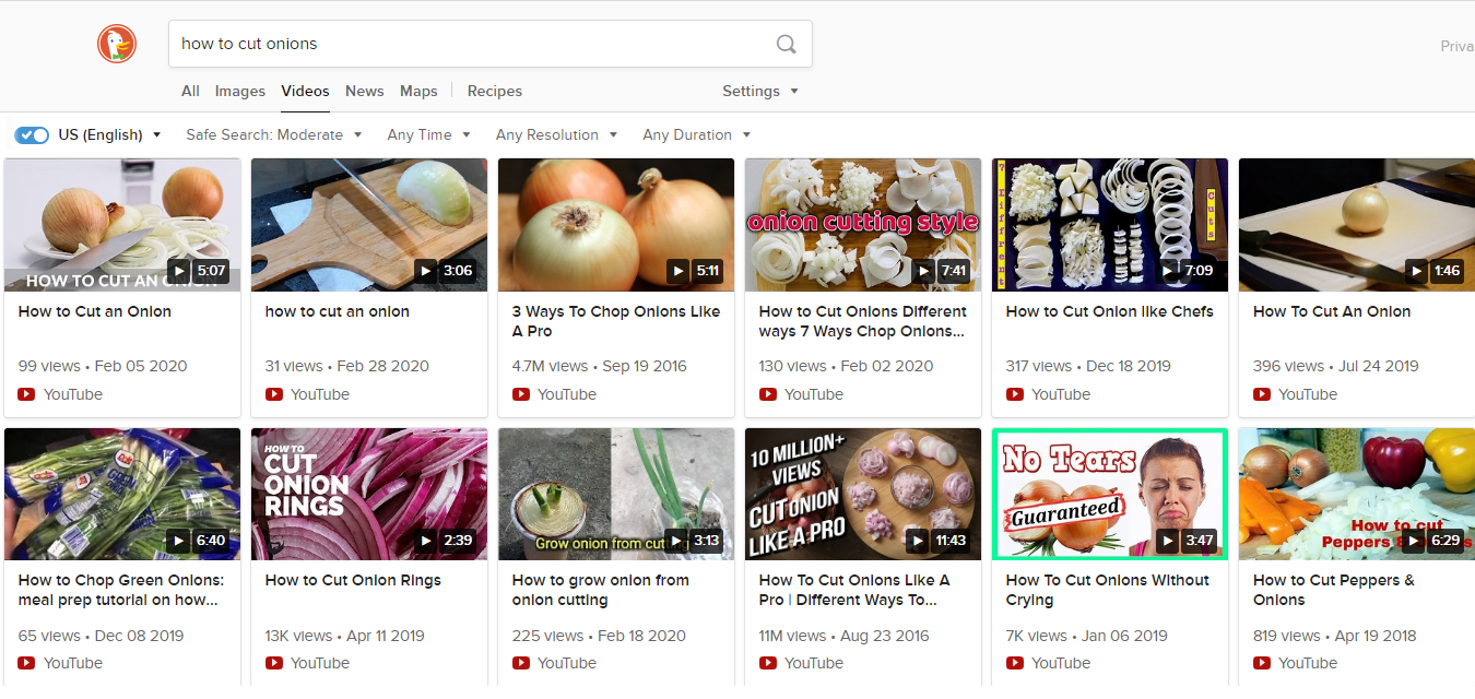 DuckDuckGo video search - how to cut onions