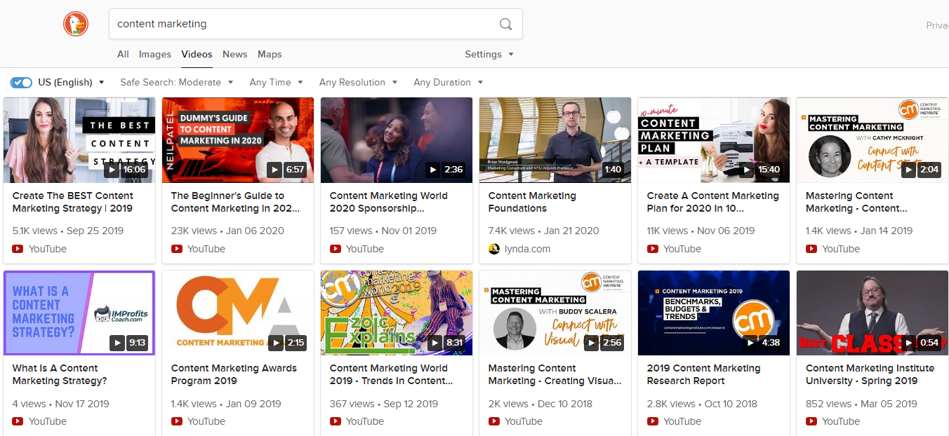 video search in U.S. on DuckDuckGo