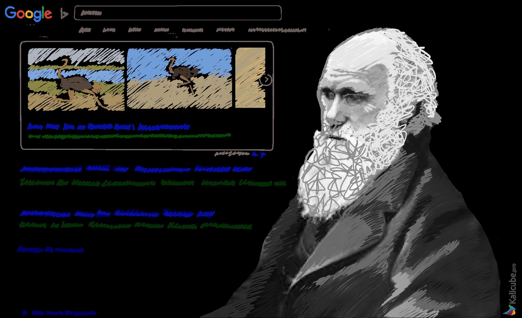 Charles Darwin looking at a SERP