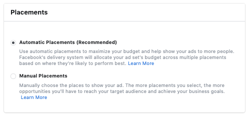 Facebook Ads Automatic Placements
