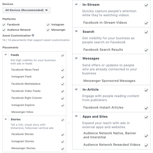 Facebook Ads Full Placements List