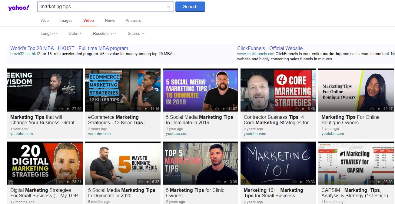 Yahoo video search