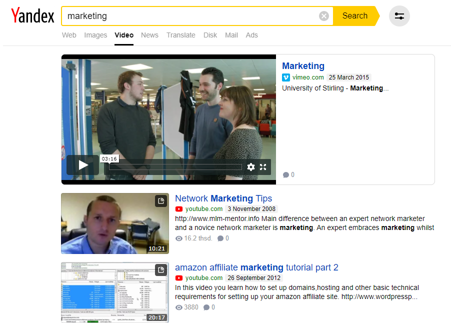 Yandex Russian video search engine