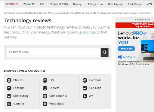 Screenshot of a product review site; link building for ecommerce sites
